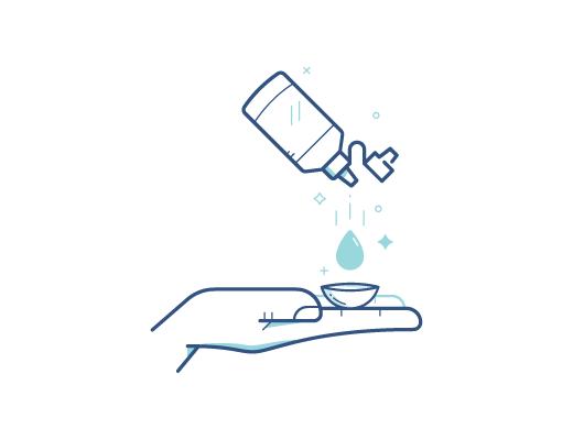 Desinfectar los lentes de contacto con la solución de contactos