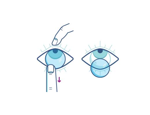 Retire sus contactos usando su dedo índice en el borde inferior de la lente
